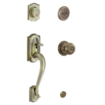 Schlage F93 CAM 609 GEO Camelot Decorative Handleset with Georgian Knob - Antique Brass