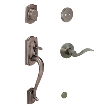 Schlage F93 CAM 620 ACC RH Camelot Decorative Handleset with Right Handed Accent Lever - Antique Pewter