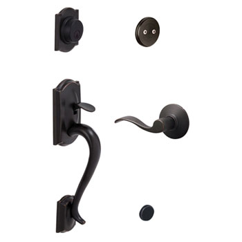 Schlage F93 CAM 716 ACC LH Camelot Decorative Handleset with Left Handed Accent Lever - Aged Bronze