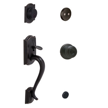 Schlage F93 CAM 716 GEO Camelot Decorative Handleset with Georgian Knob - Aged Bronze