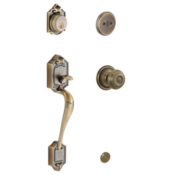 Schlage F93 PAR 609 GEO Parthenon Handleset with Georgian Knob - Antique Brass