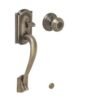 Schlage FE285 CAM 609 GEO Camelot Bottom Half Handleset with Georgian Knob - Antique Brass