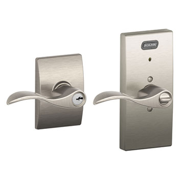 Schlage FE51 ACC 619 CEN Century Collection Keyed Entry Accent Lever with Built-In Alarm - Satin Nickel