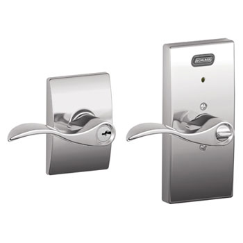 Schlage FE51 ACC 625 CEN Century Collection Keyed Entry Accent Lever with Built-In Alarm - Bright Chrome