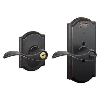 Schlage FE51 ACC 716 CAM Camelot Collection Keyed Entry Accent Lever with Built-In Alarm - Aged Bronze