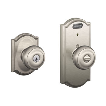 Schlage FE51 GEO 619 CAM Camelot Collection Keyed Entry Georgian Knob with Built-In Alarm - Satin Nickel