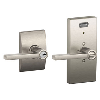 Schlage FE51 LAT 619 CEN Century Collection Keyed Entry Latitude Lever with Built-In Alarm - Satin Nickel
