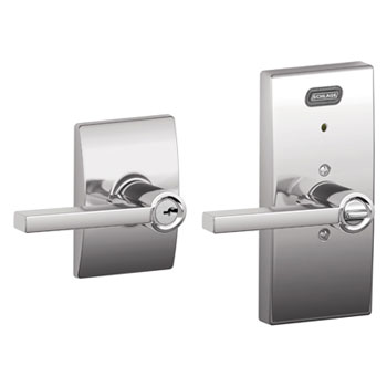 Schlage FE51 LAT 625 CEN Century Collection Keyed Entry Latitude Lever with Built-In Alarm - Bright Chrome