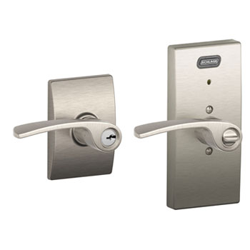 Schlage FE51 MER 619 CEN Century Collection Keyed Entry Merano Lever with Built-In Alarm - Satin Nickel