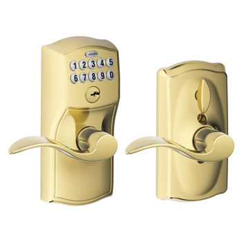 Schlage FE595 CAM 505 ACC Camelot Keypad Entry with Flex Lock and Accent Levers - Bright Brass