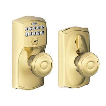 Schlage FE595 CAM 505 GEO Camelot Keypad Entry with Flex Lock and Georgian Knob - Bright Brass