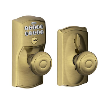 Schlage FE595 CAM 609 GEO Camelot Keypad Entry with Flex Lock and Georgian Knob - Antique Brass