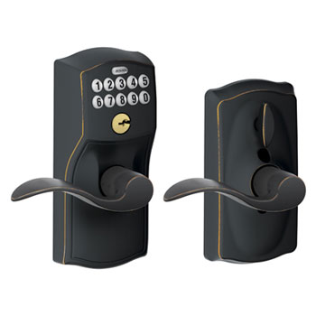 Schlage FE595 CAM 716 ACC Camelot Keypad Entry with Flex Lock and Accent Levers - Aged Bronze