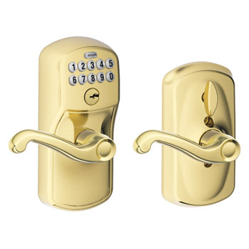 Schlage FE595 PLY 505 FLA Plymouth Keypad Entry with Flex Lock and Flair Levers - Bright Brass
