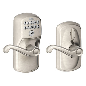 Schlage FE595 PLY 619 FLA Plymouth Keypad Entry with Flex Lock and Flair Levers - Satin Nickel