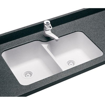 Swanstone us double bowl kitchen sink white for Swanstone undermount sinks