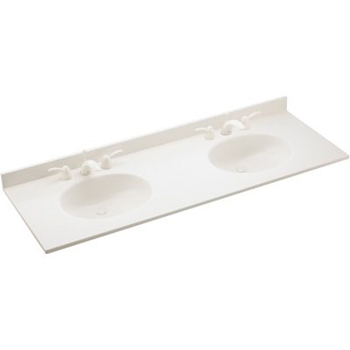 Swanstone VT2B2261.010 Ellipse Double Bowl Vanity Top - White
