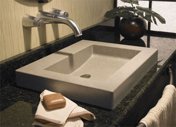 Swanstone WB-2218.037 Palladio Above-Counter Washbasin - Bone (Pictured in Tahiti White)
