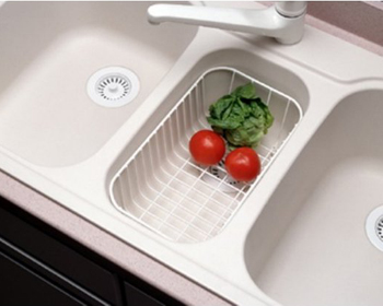 Swanstone WB-22 Small Kitchen Sink Wire Basket - White