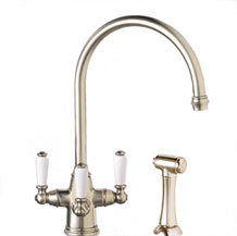 Franke TFC490 Triflow Faucets Corinthian Kitchen Faucet - NuBrass (Pictured in Satin Nickel)