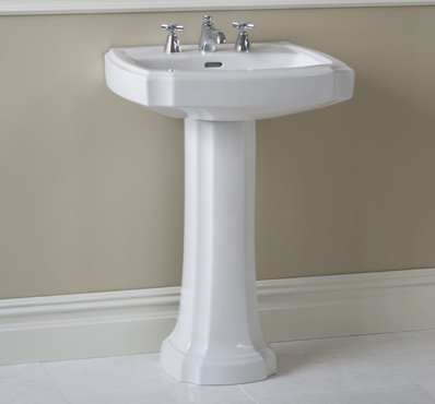 Toto LPT970-01 Guinevere Pedestal Lavatory Sink with Single Faucet Hole - Cotton White
