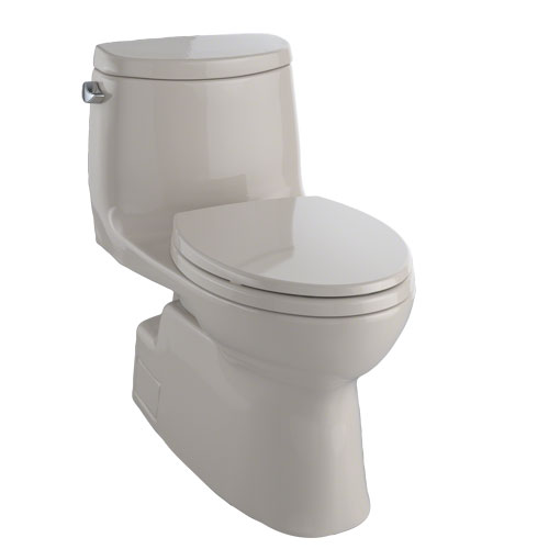 Toto MS614114CEFG#03 Carlyle II One-Piece Elongated 1.28 GPF Universal Height Skirted Toilet with CeFiONtect - Bone