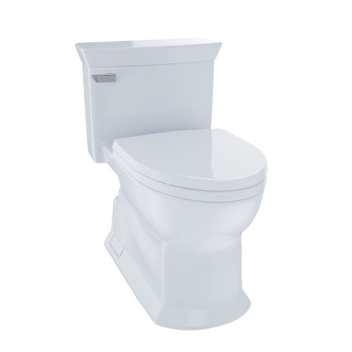 Toto MS964214CEFG#01 Eco Soiree One Piece Elongated 1.28 GPF Universal Height Skirted Toilet with CeFiONtect - Cotton White