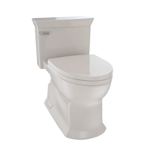Toto MS964214CEFG#03 Eco Soiree One Piece Elongated 1.28 GPF Universal Height Skirted Toilet with CeFiONtect - Bone