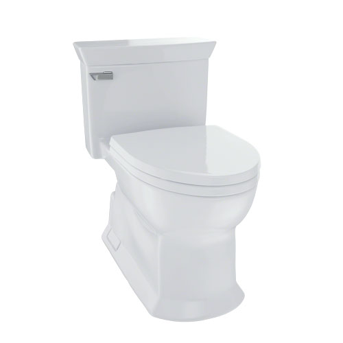 Toto MS964214CEFG#11 Eco Soiree One Piece Elongated 1.28 GPF Universal Height Skirted Toilet with CeFiONtect - Colonial White