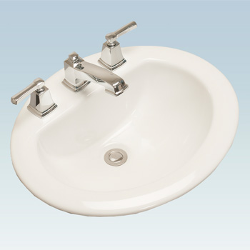 Western Pottery 172-4 20X17 in Oval Drop-In Lavatory - White