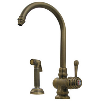Whitehaus Wh17666 Aco Evolution Single Handle Kitchen Faucet With Side Spray Antique Copper