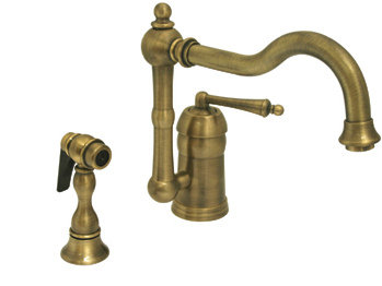 Whitehaus 3-3190-ABRAS Legacyhaus Single Lever Handle Kitchen Faucet - Antique Brass