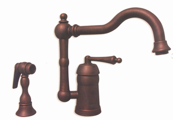 Whitehaus 3-3190-MABRZ Legacyhaus Single Lever Handle Kitchen Faucet - Mahogany Bronze (Pictured in Antique Copper)