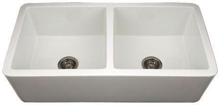 Whitehaus WH3719-BI Duet Reversible Undermount Fireclay Double Bowl Farm House Sink with Smooth Apron Front - Biscuit (Pictured in White)