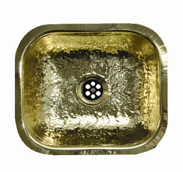 undermount bar sink. Whitehaus WH690BBB Rectangular Undermount Bar Sink - Hammered Brass