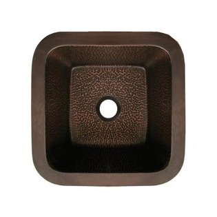 Whitehaus WHCOLV1414-HCO Square Drop-In/Undermount Prep Sink - Hammered Copper (Pictured in Smooth Bronze)