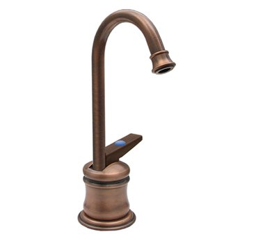 Whitehaus WHFH3-C55-POCH Drinking Water Faucet with Gooseneck Spout and Self-Closing Handle - Polished Chrome (Pictured in Anitque Copper)