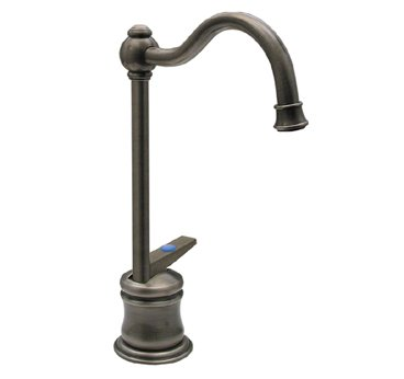 Whitehaus WHFH3-C56-ABRAS Drinking Water Faucet with Traditional Spout and Self-Closing Handle - Antique Brass (Pictured in Pewter)