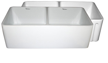 Whitehaus WHFLPLN3318-WH Farmhaus Dual-Apron Reversible Fireclay Kitchen Sink - White