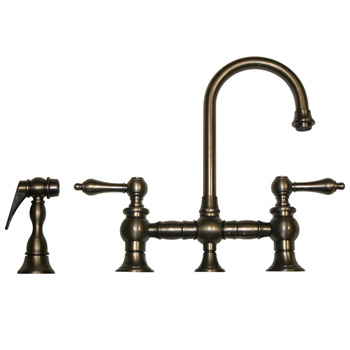Whitehaus WHKBLV3-9106-PTR Vintage III Entertainment/Prep Bridge Faucet with Side Spray - Pewter