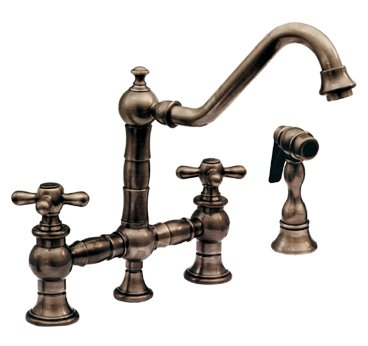 Whitehaus WHKBTCR3-9201-PTR Vintage III Bridge Faucet with Cross Handles with Side Spray - Pewter (Pictured in Mahogany Bronze)