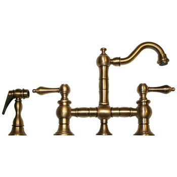 Whitehaus WHKBTLV3-9206-ABRAS Vintage III Entertainment/Prep Bridge Faucet with Side Spray - Antique Brass
