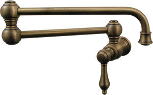 Whitehaus WHKPFLV3-9500-PTR Vintage III Wall Mount Pot-Filler with Lever Handle - Pewter (Pictured in Antique Brass)