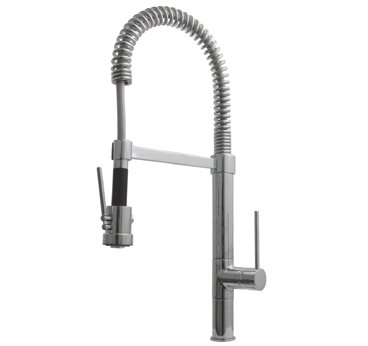Whitehaus WHLX78557L-BN Metrohaus Commercial Single Hole Faucet with Flexible Pull Down Spout - Brushed Nickel (Pictured in Polished Chrome)