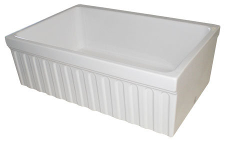 Whitehaus WHQ330-BL Quatro Alcove Reversible Single Basin Fireclay Farm House Sink with Fluted Apron Front - Black (Pictured in White)