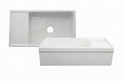 Whitehaus WHQD540-BI Farmhaus Quatro Alcove Reversible Fireclay Apron Front Sink with Drain Board - Biscuit (Pictured in White)