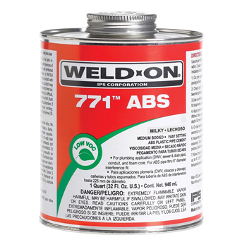 Weld-On 10233 Milky White 771 Medium-Bodied ABS Professional Industrial-Grade Cement - 1 Pint