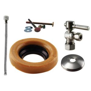 Westbrass D1612TBL-07 Lever Handle Ball Valve Kit Wax Ring Toilet Parts and Accessory - Satin Nickel