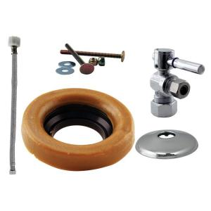 Westbrass D1612TBL-26 Lever Handle Ball Valve Kit Wax Ring Toilet Parts and Accessory - Chrome