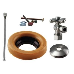Westbrass D1612TBX07 Cross Handle Ball Valve Toilet Kit & Wax Ring - Satin Nickel